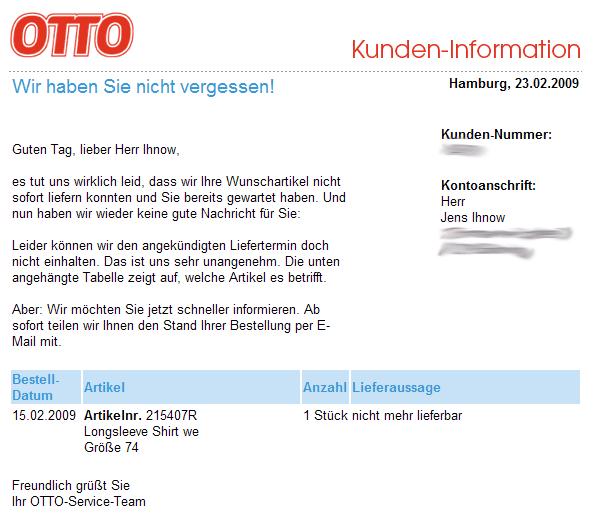 Brief Von Otto : Jens ihnow s einträge für februar