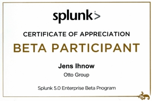 Splunk Beta Program - Certificate of Appreciation