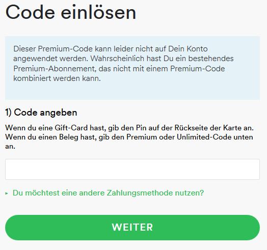 spotify karte einlösen Spotify Kundenservice   Gutschein vs. Spotify Family   Jens